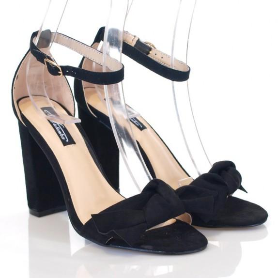 Sandały słupek zamsz 2 w 1 Joanna czarne