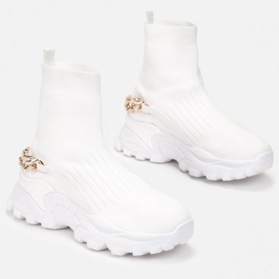 Sneakersy botki z łańcuszkiem Imelda białe