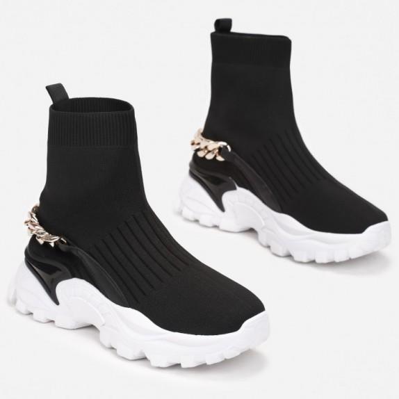 Sneakersy botki z łańcuszkiem Imelda czarne