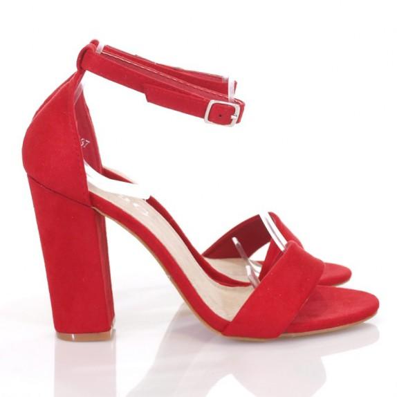 Sandały słupek zamsz Margie czerwone