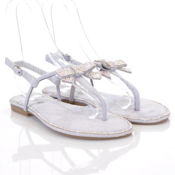 Sandały japonki kokardka cyrkonie Cordelia szare