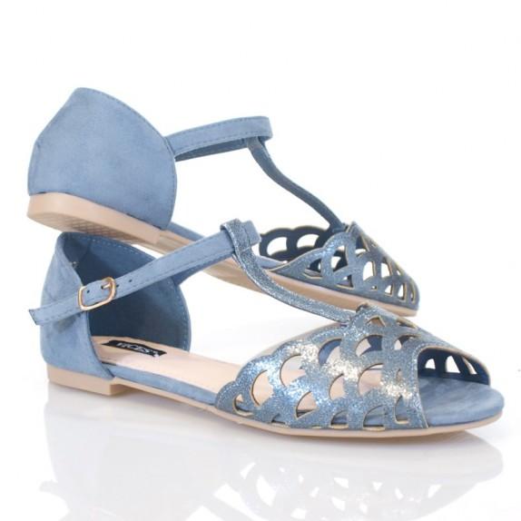Sandały błyszczące ażurowe Elaine niebieskie