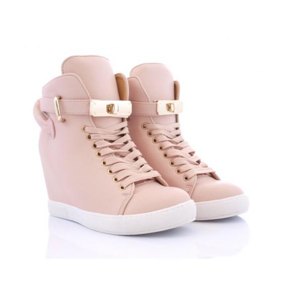 Sneakersy koturn kłódka Vickie różowe