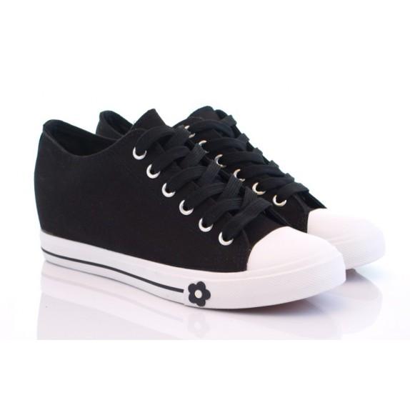 Trampki sneakersy koturn Emma czarne