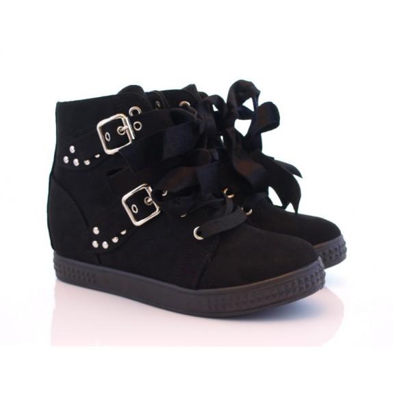 Sneakersy ćwieki wstążki koturn zamsz Ivy czarne