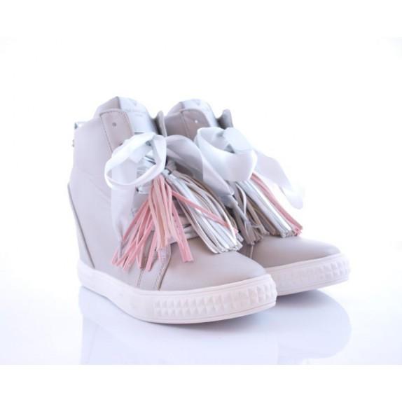 Sneakersy z frędzlami koturn Christine szare
