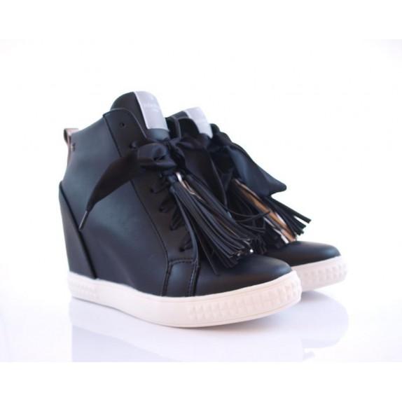 Sneakersy z frędzlami koturn Christine czarne