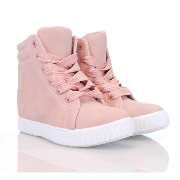 Sneakersy zamsz koturn Sally różowe