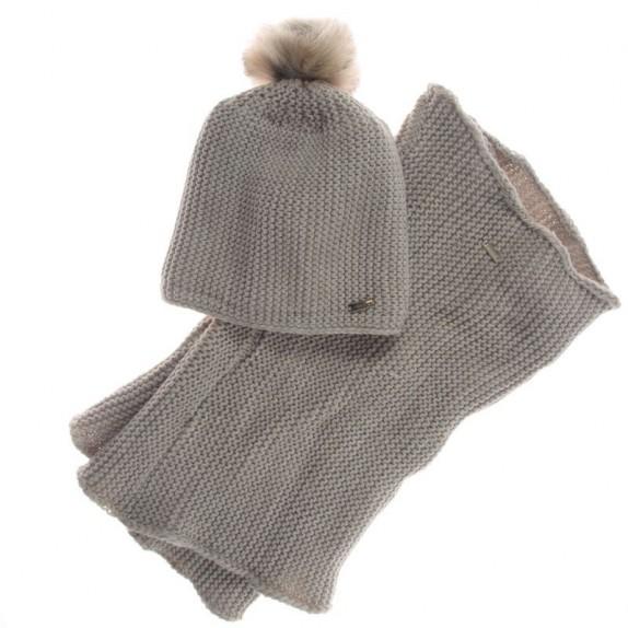 Komplet czapka zimowa komin Ethel beżowy