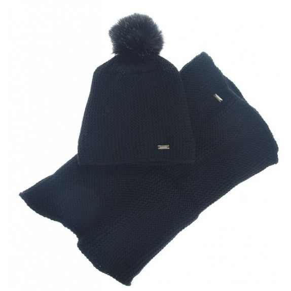 Komplet czapka zimowa komin Ethel czarny