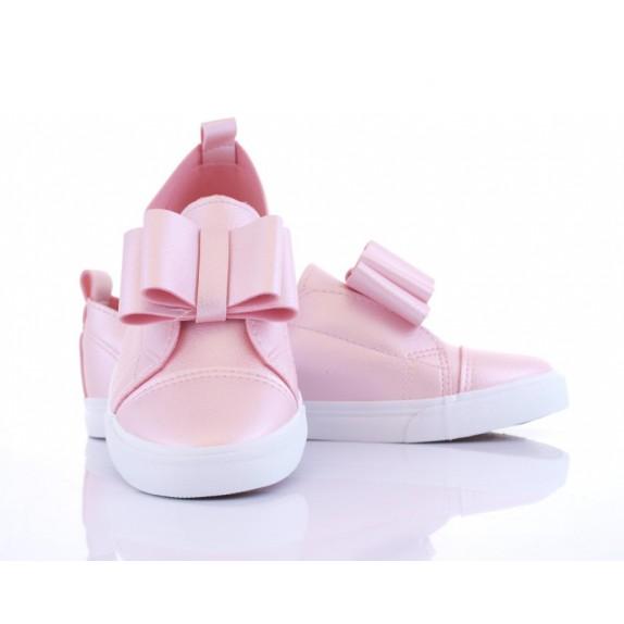 Metaliczne balerinki kokardka Annabella różowe