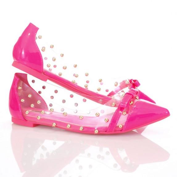 Balerinki ćwieki Zoe różowe neon