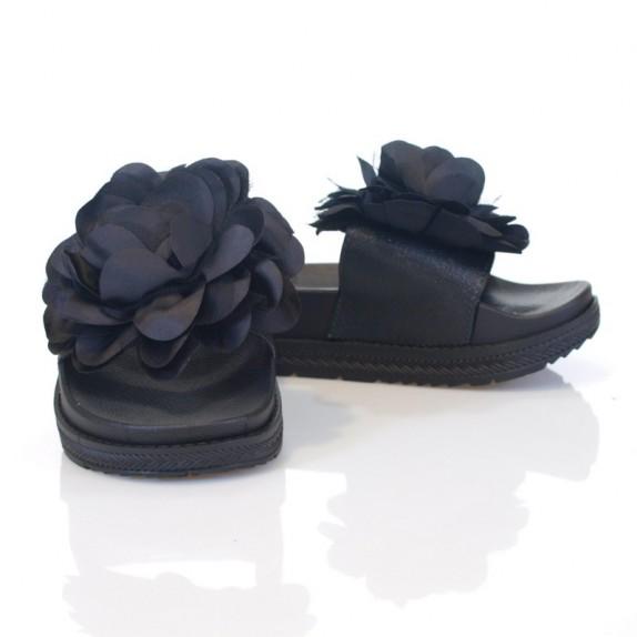 Klapki kwiaty Esther czarne