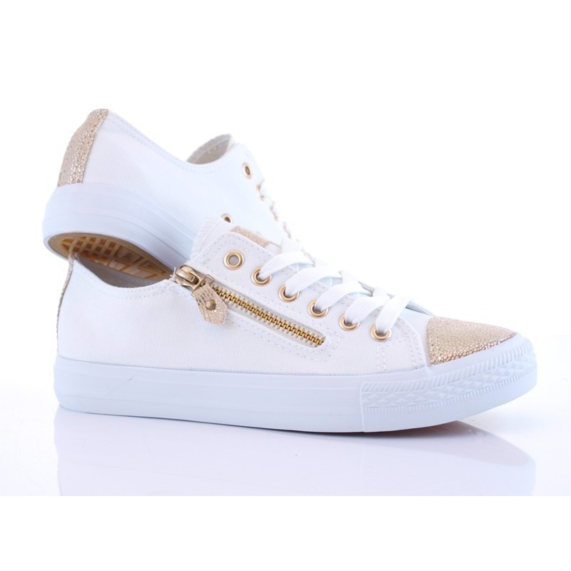 Trampki sneakersy suwak złoty czubek Carla białe | sklep SOLUEL