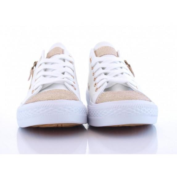 Trampki sneakersy suwak złoty czubek Carla białe