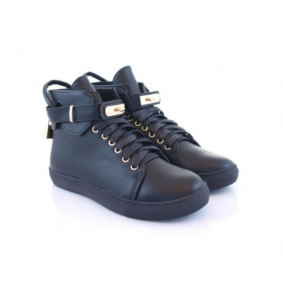 Sneakersy płaskie kłódka Sonia czarne