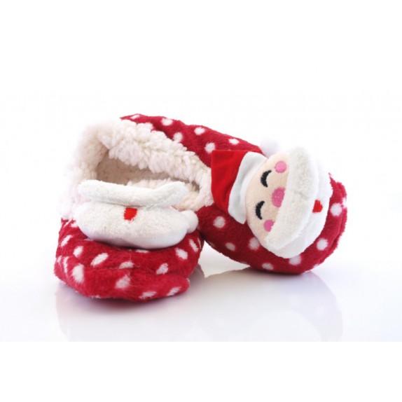 Świąteczne kapcie mikołaj na prezent Christmas czerwone