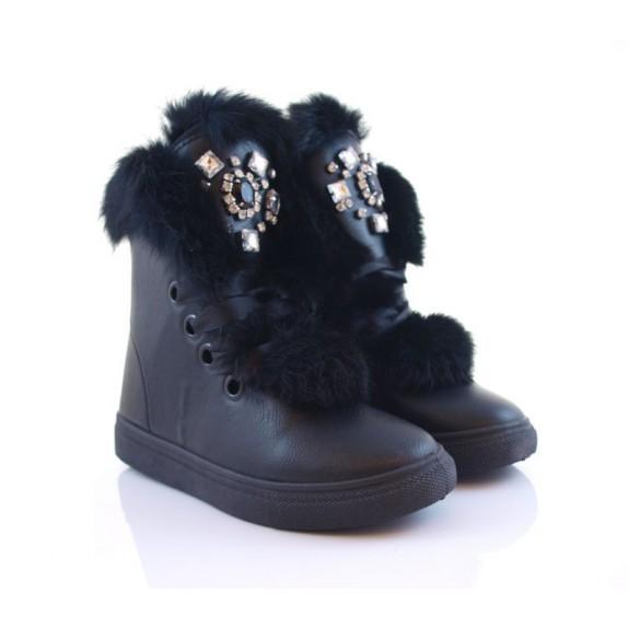 Botki futro śniegowce kamienie Maryann czarne