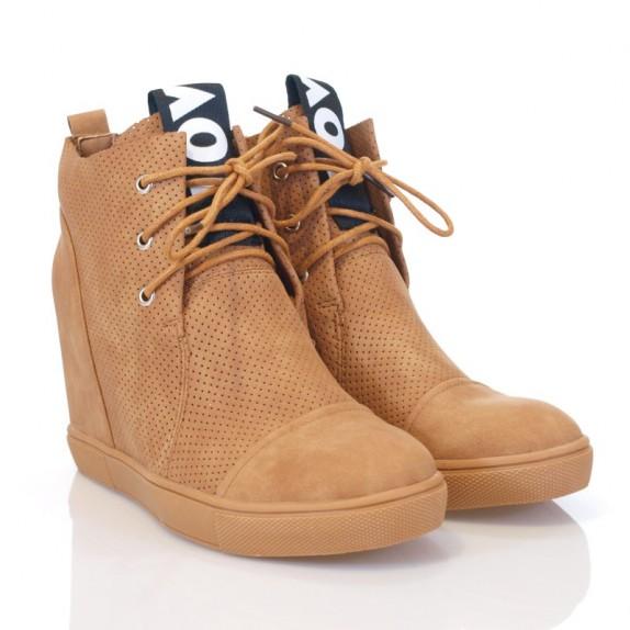 Sneakersy na koturnie Giulia camel