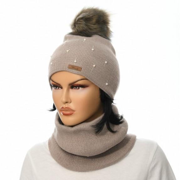Komplet czapka plus komin Pearl kawowy