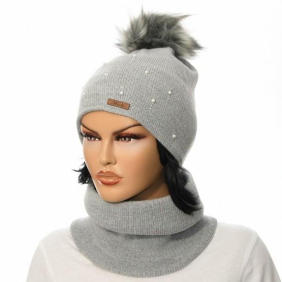 Komplet czapka plus komin Pearl szary