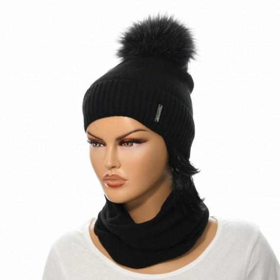 Komplet czapka plus komin Patty czarny
