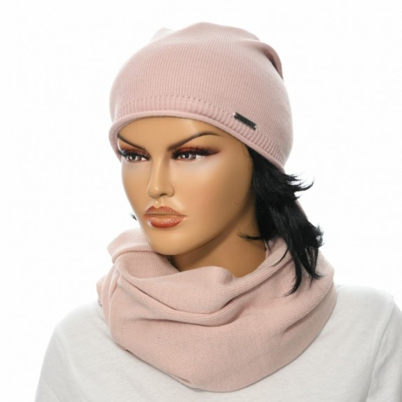 Komplet czapka plus komin Bonny maxi różowy