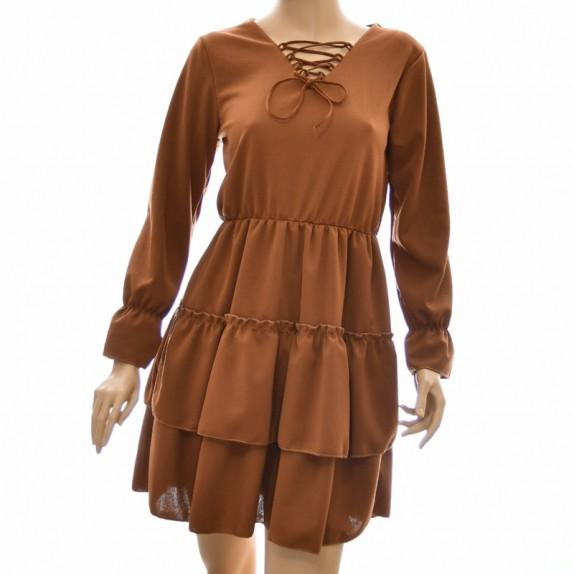 Sukienka z falbanami Selina brązowa