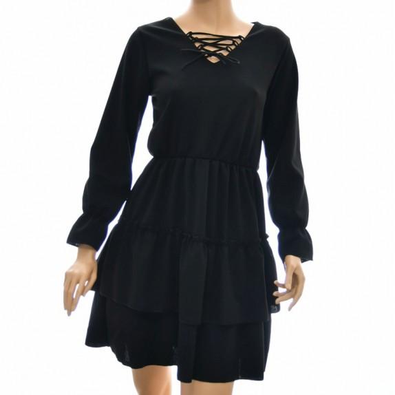 Sukienka z falbanami Selina czarna