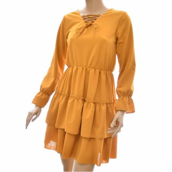 Sukienka z falbanami Selina miodowa