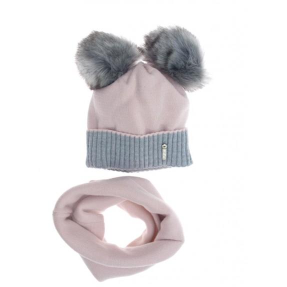 Komplet dwa pompony czapka komin Miky różowy