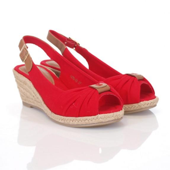 Sandały espadryle koturn Revi czerwone