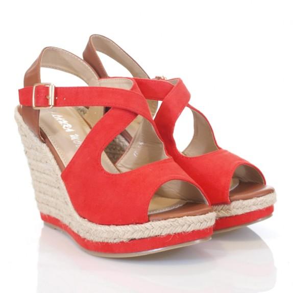 Sandały espadryle koturn Clarisse czerwone