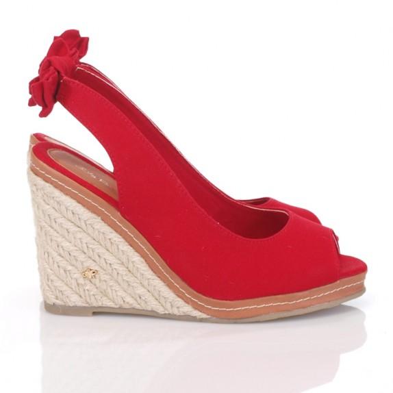 Sandały espadryle koturn kokardka Eveline czerwone