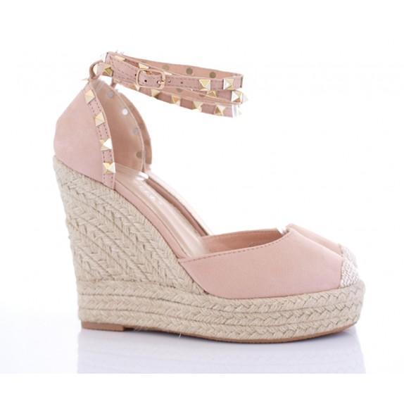 Sandały na koturnie ćwieki Florence różowe