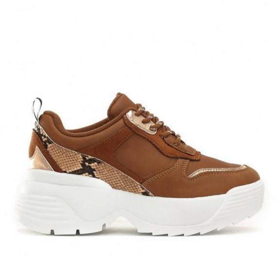 Sneakersy na platformie Luke camelowe