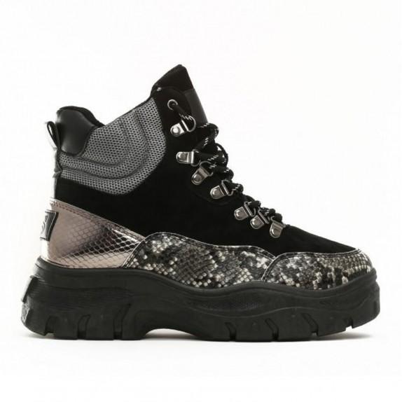 Sneakersy zamsz Edna wężowe czarne