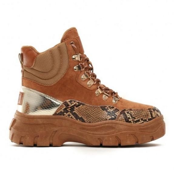 Sneakersy zamsz Edna wężowe camel
