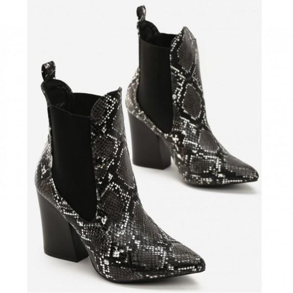Botki kowbojki wężowe Issa czarne