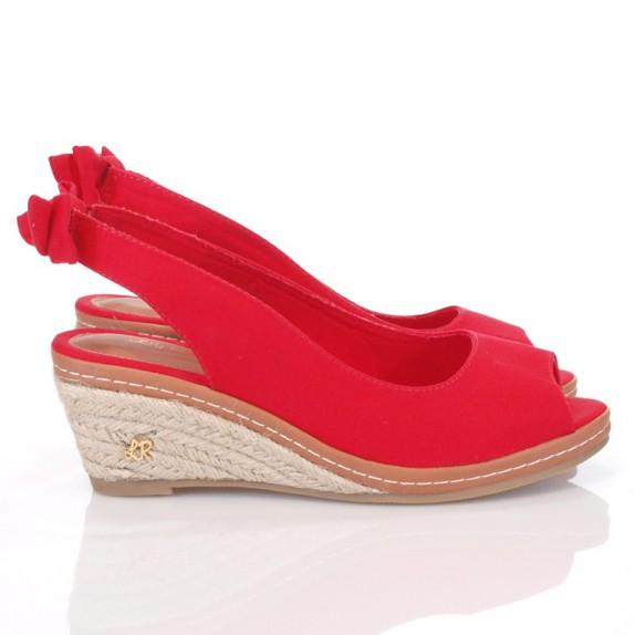 Sandały espadryle koturn kokardka Eve czerwone