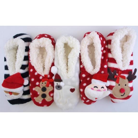 Świąteczne kapcie mikołaj Christmas czarne