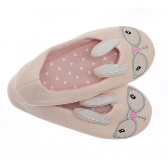 Kapcie balerinki króliczki Claudia różowe